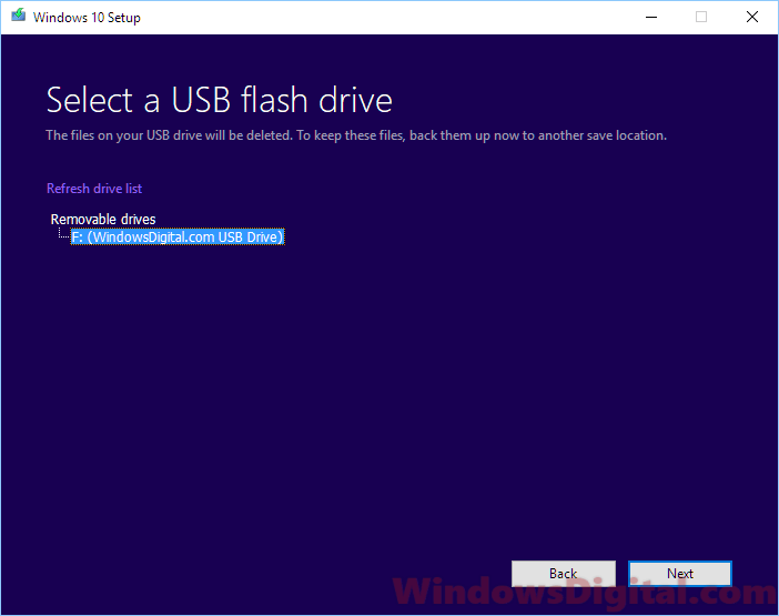 Select a USB flash drive in media creation tool Windows 10 digital download