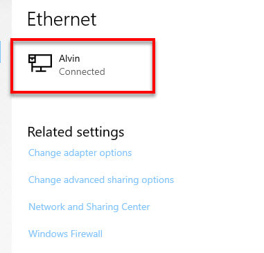Select ethernet network in Windows 10 for file sharing