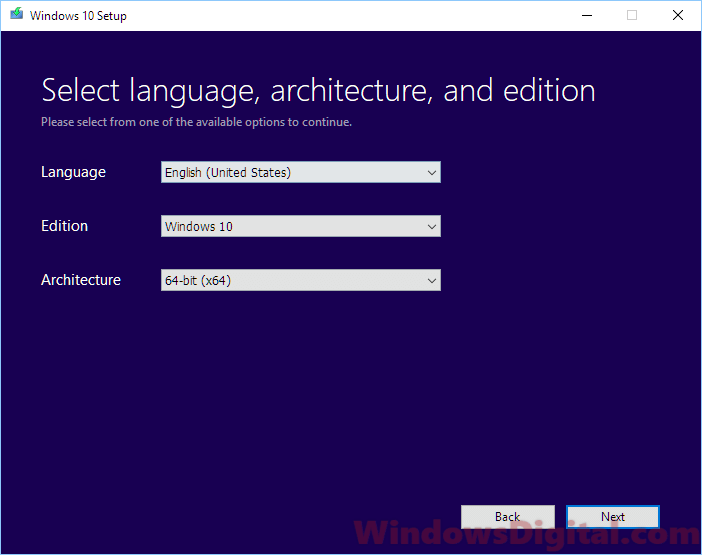 Select language architecture and edition Windows 10 digital download