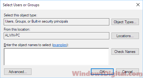 Select users or groups sharing permission Windows 10