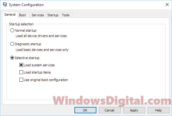 Selective startup fix unknown hard error in Windows 10