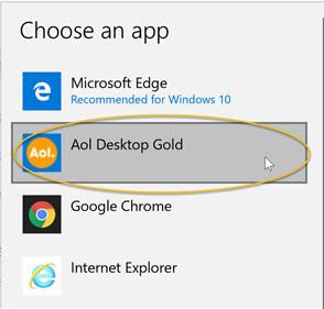 Set Default email app to AOL Desktop Gold in Windows 10