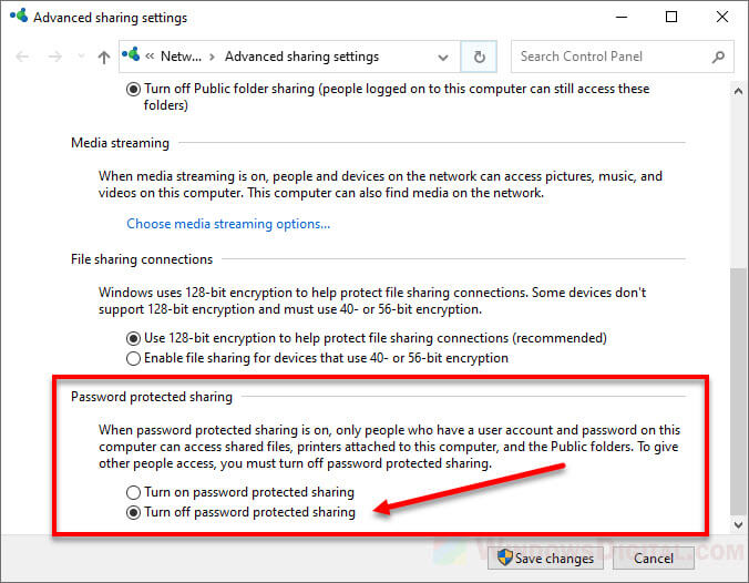 Share a folder in Windows 10 without password