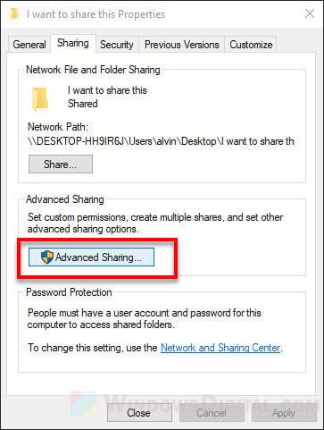 Share folder Windows 10 in local network