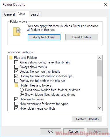 Show hidden files in Windows 10