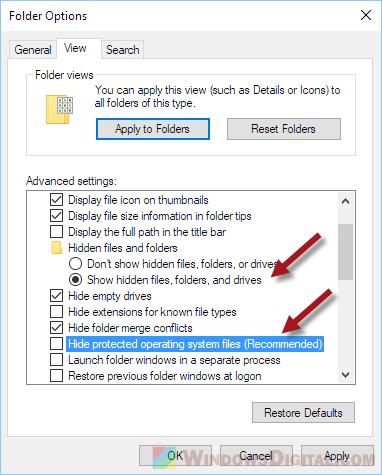 Show unhide Windows Installer Folder missing location