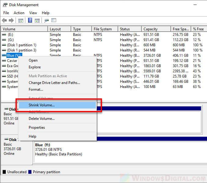 Shrink Volume to Split drive in Windows 10