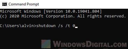 Shut down goes back to login screen Windows 10