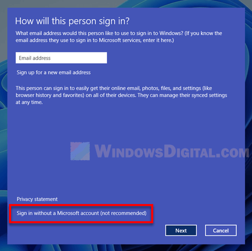 Sign in Windows 11 without a Microsoft account