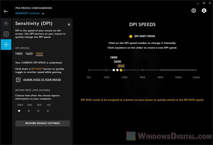 Slow down mouse speed Logitech Windows 10