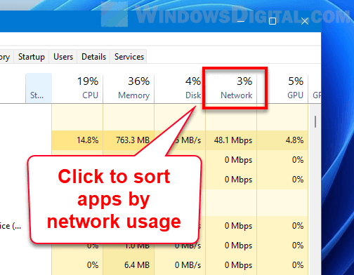 Sort apps by network usage Windows 11