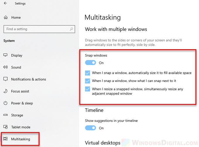 Split screen snap not working on Windows 10