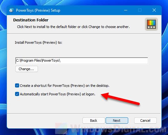 Start PowerToys on Windows 11 Startup