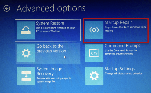 Startup Repair Windows 10 Recovery
