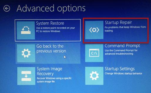 Startup Repair Windows 10 Recovery