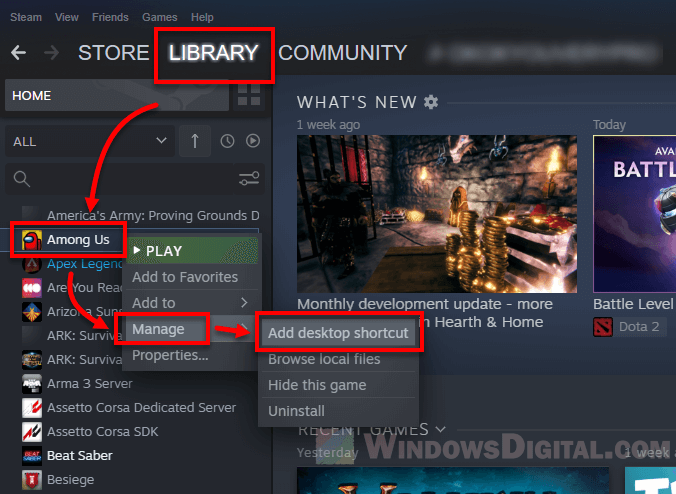 Steam game desktop icon not showing or missing
