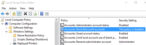 Stop Microsoft Account Problem notification Windows 10
