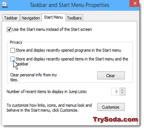 Store and display recently opened programs in the Start Menu