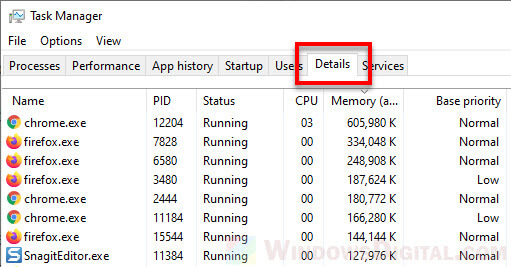 Task Manager Details tab Windows 10