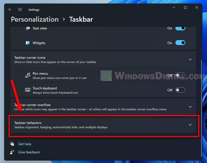 Taskbar Behaviors Windows 11