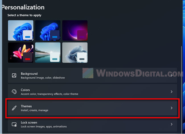 Themes Settings Windows 11