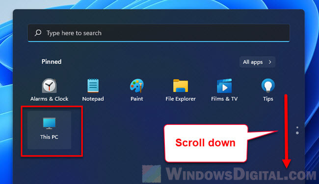 This PC not found in Pinned area in Start on Windows 11