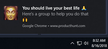 Turn off product hunt Chrome notifications Windows 10