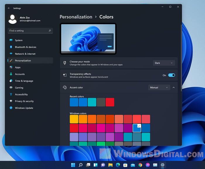 Turn on Dark Mode Windows 11