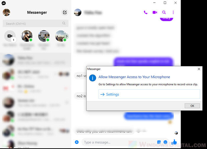 Turn on Microphone Facebook Messenger Windows 10