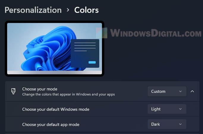 Turn on light or dark mode only for Windows or App on Windows 11