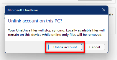 Unlink OneDrive from PC Microsoft Account