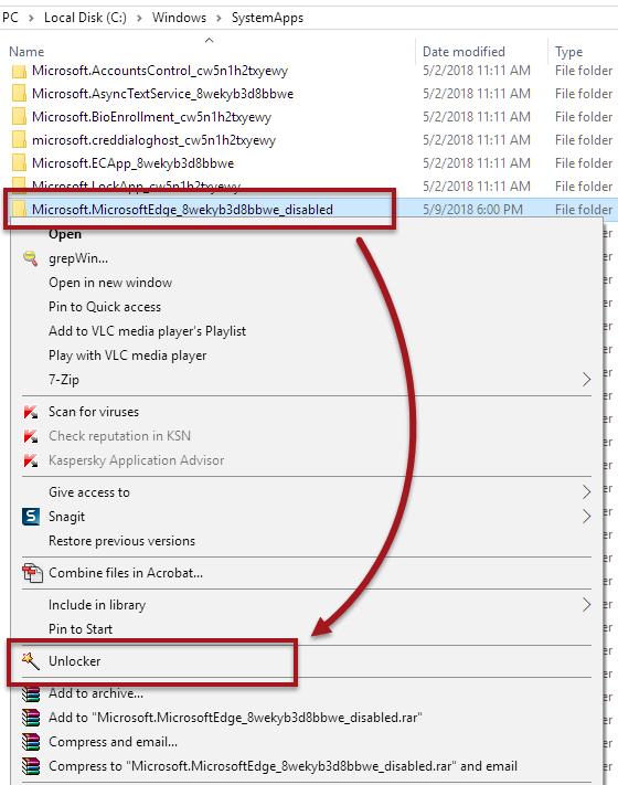Unlocker to delete Microsoft Edge in Windows 10