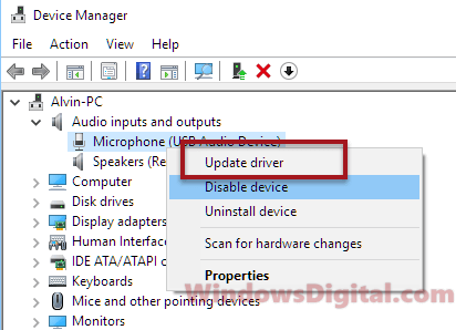 Update microphone driver Wizard could not start microphone