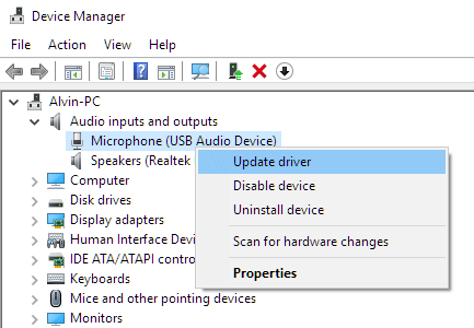 Update microphone driver in Windows 10