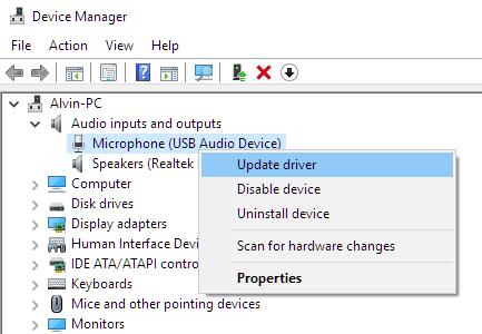 Update microphone driver in Windows 10
