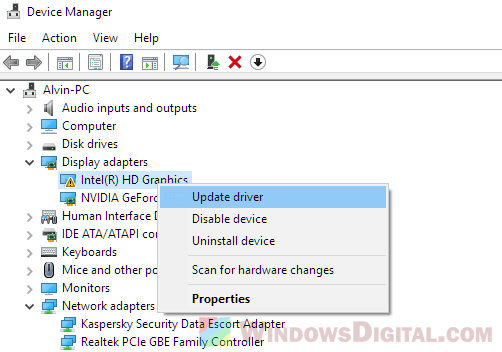 Update onboard integrated graphics driver