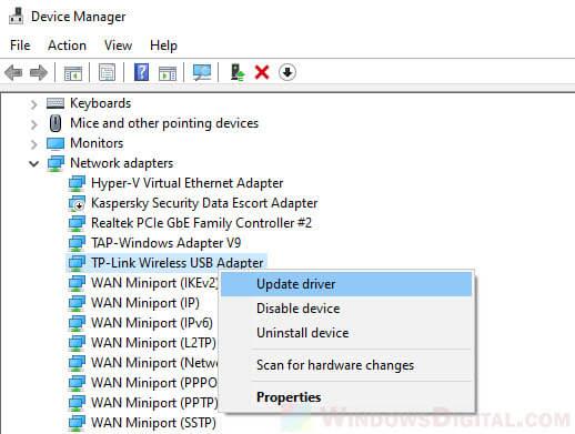 Update wireless network adapter driver No internet secured