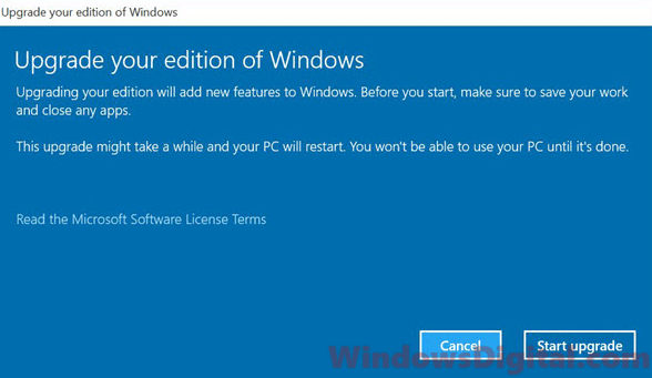Upgrade Windows 10 Home to Pro free without product key volume license