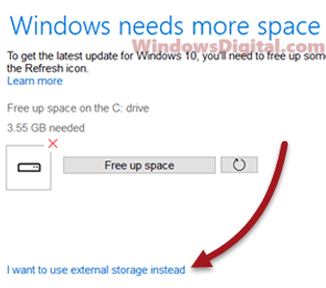 Use external drive for Windows 10 update need more space