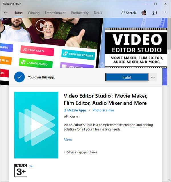 Video editor studio install from Microsoft Store