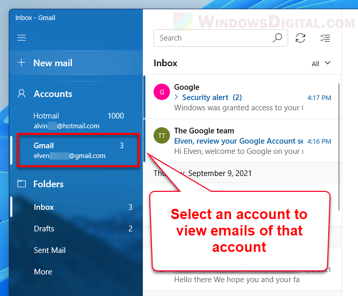 View Gmail inbox emails via Mail app in Windows 11