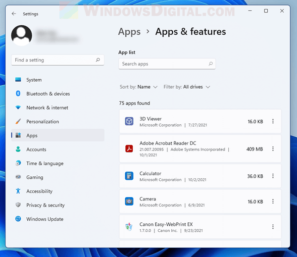 View list of apps Windows 11