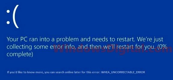 Whea Uncorrectable Error Windows 10