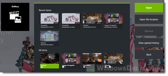 Where NVIDIA shadowplay recorded video saved folder location