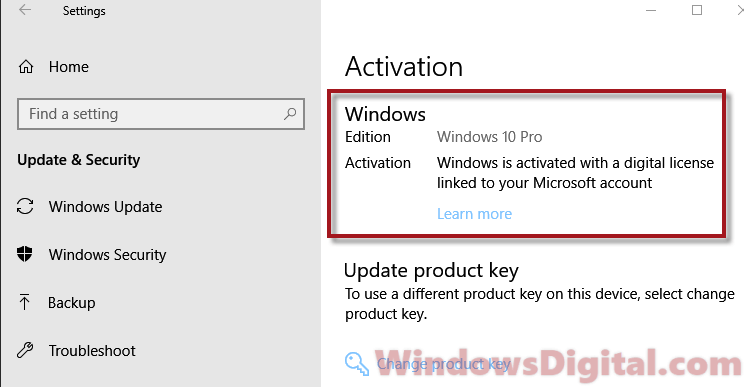 Where is my Windows 10 Digital License Product Key stored