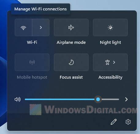 WiFi icon greyed out Windows 11 taskbar quick settings