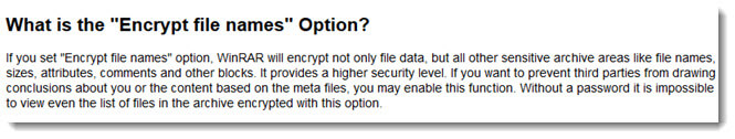 WinRAR encrypt file names meaning