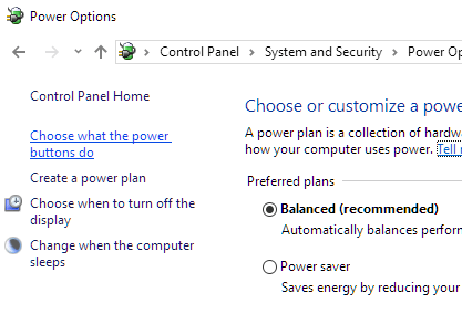 Windows 10 Choose what the power buttons do