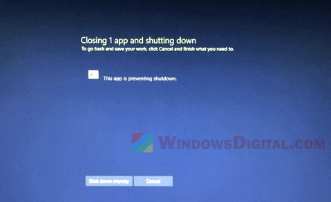 Windows 10 Closing 1 App and Shutting Down task host window