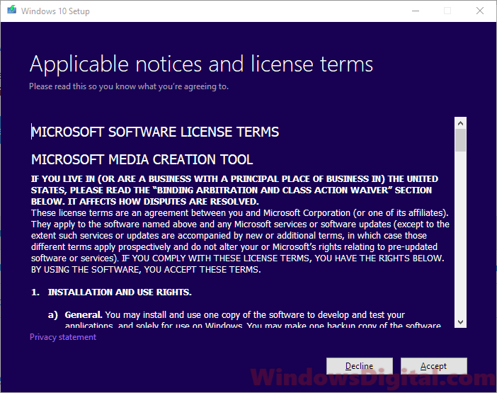 Windows 10 Pro Home digital download license terms